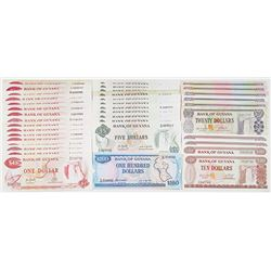 Bank of Guyana. ND (1966-1992). Lot of 38 Issued Notes.