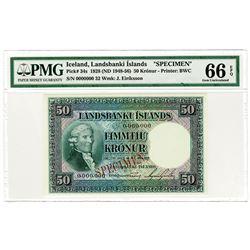 Landsbanki Islands. 1928 (ND 1948-1956). Specimen Banknote.