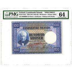 Landsbanki Islands. 1928 (ND1945-1956). Specimen Banknote.