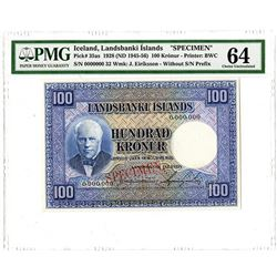 Landsbanki Islands. 1928 (ND1945-1956). Specimen Banknote.