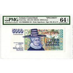 Central Bank of Iceland. 1961 (ND 1986-1985). Specimen Banknote.