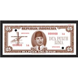 Republik Indonesia Unlisted 1948 Issue 25 Rupiah Essay Specimen Banknote.