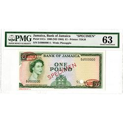 Bank of Jamaica. 1960 (ND 1964). Specimen Banknote.