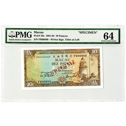Banco Nacional Ultramarino. 1981 Specimen Banknote.