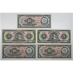Banco de Mexico. 1953-1958. Lot of 5 Issued Notes.