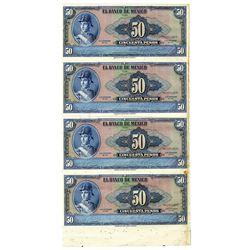Banco De Mexico, 1961 Uncut sheet of 4 Progress Specimen-proof Banknotes.