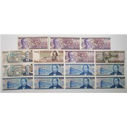 Banco de Mexico. 1973-1992. Lot of 16 Issued Notes.
