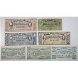 Estado de Chihuahua. 1915. Lot of 7 Issued Notes.