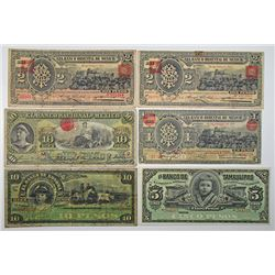 Various Mexican Issuers. 1914. Lot of 6 Issued Notes.