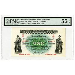 Bank of Ireland - Northern, 1936, £1 High Grade Banknote Rarity.