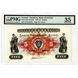 Bank of Ireland - Northern, 1958, £5 Issued Banknote.