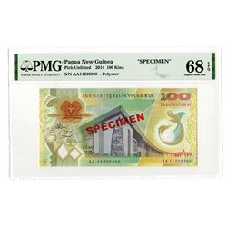 """Bank of Papua New Guinea, 2014 """"100 Kina"""" Specimen Banknote - Possibly the Highest Graded."""