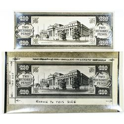 Central Bank of the Philippines. ND (1949). Lot of 2 Photographic Proof/Design Pieces.
