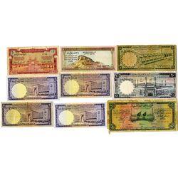 Saudi Arabian Monetary Agency. AH1373 (1954)-AH1379 (1968). Lot of 9 Issued Notes.