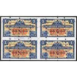Union Bank of Scotland, Ltd, Archival Specimen, 1948 Issue Uncut Sheet of 4 Notes.