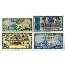 Various Scottish Banks. 1947-1964. Lot of 4 Issued Notes.