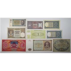 Various European Issuers. 1914-1995. Lot of 15 Issued Notes.
