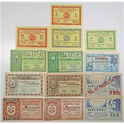 Various Spanish Municipal & Emergency Civil War Issuers. 1937. Lot of 13 Issued Notes.