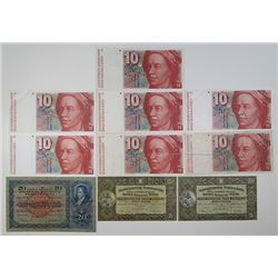 Schweizerische Nationalbank & Others. 1940s-2000s. Lot of 18 Issued Notes.