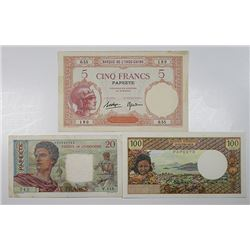 Banque de l'Indo-Chine & Institut d'Emission d'Outre-Mer. 1927-1973. Lot of 3 Issued Notes.