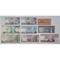 TÙrkiye Cumhuriyet Merkez Bankasi. 1916-2005. Lot of 17 Issued Notes.