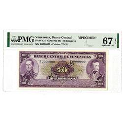 Banco Central de Venezuela. ND (1960-66). Specimen Banknote.