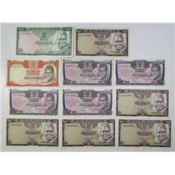 Bank of Zambia. 1969-1992. Lot of 68 Issued Notes.