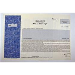 Rolls-Royce, plc., CA. 1970-80 Specimen A.D.R. Stock Certificate.