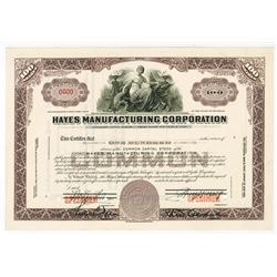 Hayes Manufacturing Corp., ca.1920-1950 Specimen Stock Certificate