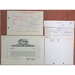 Yellow Cab Co. 1955 Proof Stock Certificate With Additional Design Element Proofs and Production Cor