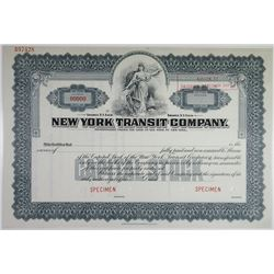 New York Transit Co. 1920-50's Specimen Stock Certificate