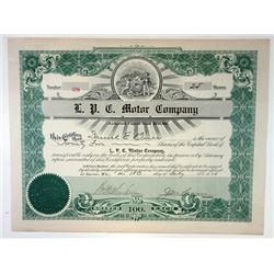 L.P.C. Motor Co. 1914 I/U Stock Certificate Signed by William Mitchell Lewis
