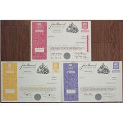 John Hancock Investors Inc., 1970-1981, Stock Certificate Trio