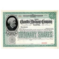 Chandler Mortgage Company Bank, 1890-1900 Specimen Stock Certificate