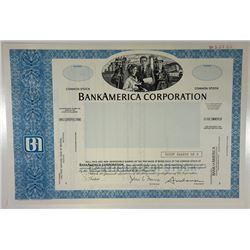 BankAmerica Corp., 1980 Odd Shrs Specimen Stock Certificate, XF SCUSBNC - Blue