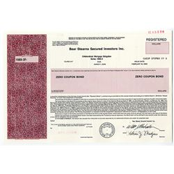Bear Stearns Secured Investors Inc., 1989 Specimen Registered Bond.