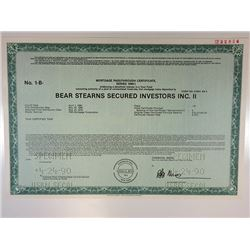 Bear Sterns Secured Investors Inc. II 1990 Specimen Mortgage Pass-Through Cert. XF