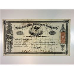 Guardian Fire Insurance Company of the City of New York, 1865 I/C Stock Certificate.