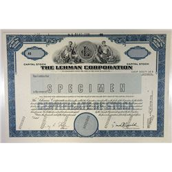 Lehman Corporation, 1989 Specimen Stock Certificate.