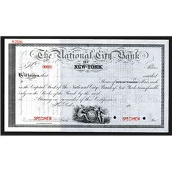 National City Bank of New York, 1911 Specimen Stock Certificate.