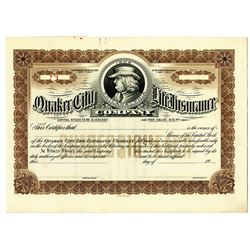 Quaker City Life Insurance Co. 1920's Specimen Stock Certificate