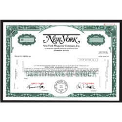 "New York Magazine Co., Inc. ca.1969 Possible ""IPO"" Specimen Stock Certificate."