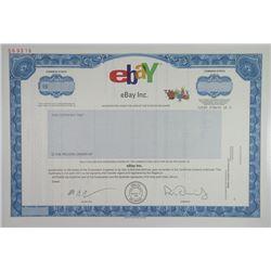 eBay Inc. 2001 Specimen Stock Certificate.