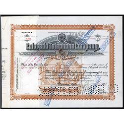 Colorado Telephone Co. 1907 I/C Stock Certificate.