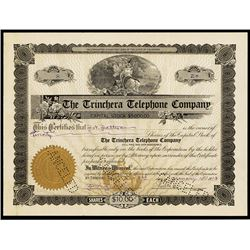 Trinchera Telephone Co. 1913 I/C Stock Certificate.