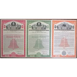Southern Bell Telephone and Telegraph Co., 1961 Specimen Bond Trio