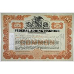 Federal Adding Machine Corp. 1922 I/U Stock Certificate