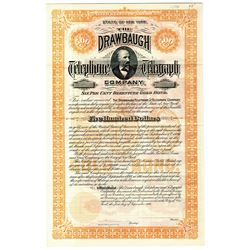Drawbaugh Telephone and Telegraph Co. 1896 Specimen Bond