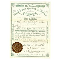 Pennock Underground Conduit & Surface Telegraph Co., 1886 I/U Stock Certificate