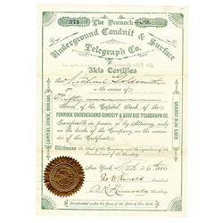 Pennock Underground Conduit & Surface Telegraph Co., 1886 I/U Stock Certificate